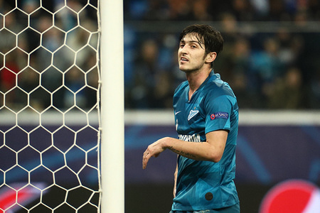 SAINT PETERSBURG, RUSSIA - NOVEMBER 27 2019: Serdar Azmoun of Zenit during the UEFA Champions League Group G match between Zenit St. Petersburg and Olympique Lyon at Gazprom Arena stadium in Saint Petersburg. Final score; Zenit St Petersburg 2: 0 Olympique Lyon.