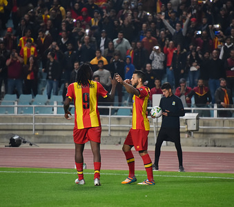 Esperance's player  Anice badri celebrates during the CAF Champions League 2019 - 20 football match between Esperance sportive tunisia and Jeunesse Sportive of Kabylie in Rades. (Final score; Esperance sportive 1: 0 Sportive Kabylie)