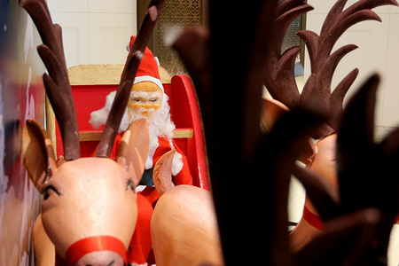 A Santa Claus figure seen at a hotel during the Christmas preparations in Dhaka. Christians in this Muslim majority country along with Christian people around the world celebrate Christmas Day, a holiday commemorating the birth of Jesus Christ.