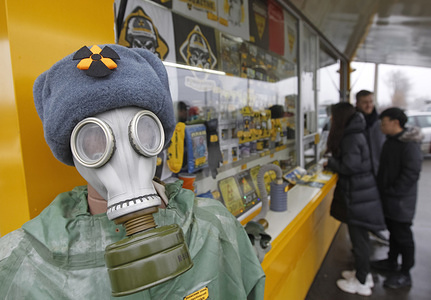 A souvenir store is seen on checkpoint Dytyatky, at the entrance to the Chernobyl Exclusion Zone in Kiev region, Ukraine. The Chernobyl nuclear accident on April 26, 1986 is regarded as the largest of its kind in the history of nuclear energy.