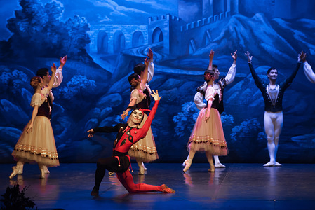 Ballet dancers of St. Petersburg perform on stage during the first act of a scene from the Swan Lake ballet at Cervantes Theatre. The classical ballet of St. Petersburg staged by choreographer Andrei Batalov is the highest cultural expression of Russian dance and came to Malaga city as part of the dance season 2019-2020.