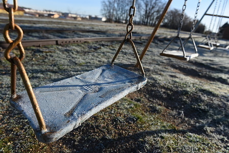 A swing covered in frost during sunrise north of Spain, where temperatures reached -8º degrees. Cold temperatures hit central Spain during the night hours. According to the AEMET state meteorology service, interior provinces are due to receive ice-cold temperatures, reaching around -10º degrees in the next days.