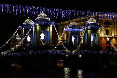 Lomonosov bridge decorated for the incoming New Year and the Orthodox Christmas celebrations.