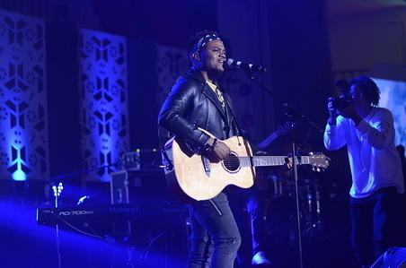 American gospel musician Travis Greene performs live at Christ is The Answer Ministry during his music tour in Karen, Nairobi