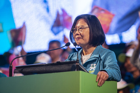 Taiwan's President and presidential candidate from the ruling Democratic Progressive Party (DPP) Tsai Ing-wen speaking during a campaign rally at the Xinzhuang Stadium The presidential election is scheduled for January 11.