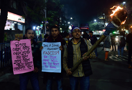 Students hold placards during the demonstration. Protest against the attack by Akhil Bharatiya Vidyarthi Parishad (ABVP) on the students of Jawaharlal Nehru University (JNU) in Delhi on the night of 5th January.