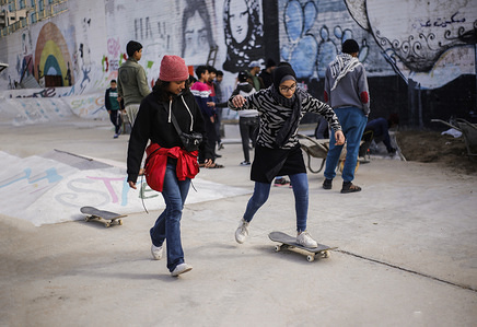 Italian activists train Young Palestinian girls to ride skateboards in Gaza City.