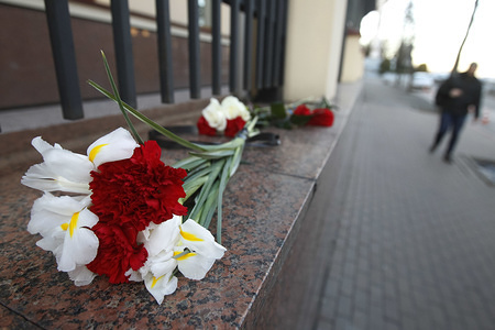 Flowers in memory of victims of the Boeing 737 crash in Iran close to the Embassy of Canada. Ukrainian Boeing 737 crashed after taking off from Tehran's airport on 8 January 2020, as media reported.