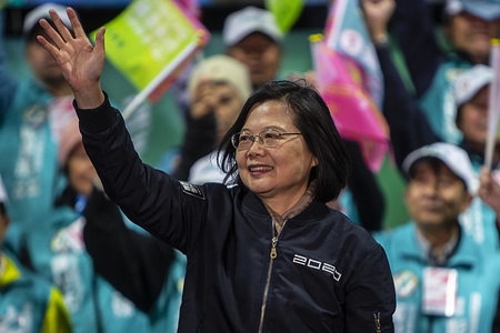 TAOYUAN, TAIWAN, JANUARY 8, 2020: Tsai Ing-wen, Taiwan's President and presidential candidate from the ruling Democratic Progressive Party (DPP), waving to supporters during an campaign rally. The president election of Taiwan is scheduled on January 11.