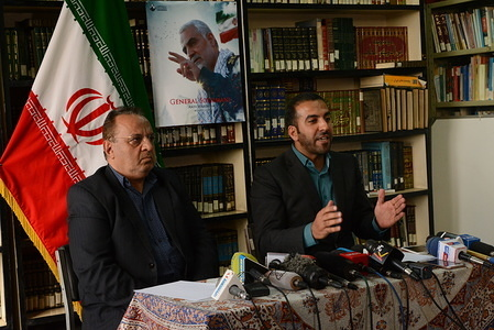 Tohid Afzali, head of the political department at the embassy of Iran in Kenya and Mahmoud Majlesain (L), Cultural counsellor at the embassy of Iran in Kenya brief the media at the cultural council of the Embassy of the Islamic Republic of Iran.