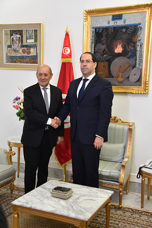 KASBA, TUNISIA, JANUARY 9, 2020: Tunisian Prime Minister Youssef Chahed receives the French Foreign Affairs Minister Jean-Yves Le Drian in Kasba.