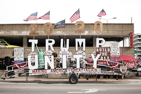 TOLEDO, OHIO, UNITED STATES, 9 JANUARY, 2020: A travelling billboard sits outside Huntington Center before Trumps first rally of 2020.