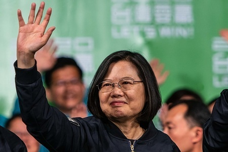 Tsai Ing-wen, Taiwan's president, wave to her supporters during the victory rally after winning the election. The president of Taiwan Tsai Ing-wen won a landslide victory in the 2020 presidential election by securing over 57% of the votes beating her major opponent Han Kuo-yu who only secured 38% of the votes.