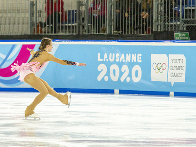 LAUSANNE, SWITZERLAND - JANUARY 13 2020: Maia Mazzara of France seen in action during the women's single free skating, on Day 4 of the Lausanne 2020 Winter Youth Olympic Games at Lausanne Skating Arena.