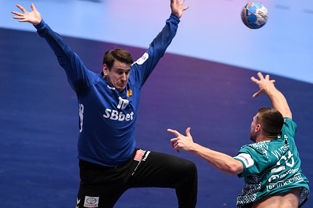 GRAZ, AUSTRIA - JANUARY 13 2020: Nebojsa Simic of Montenegro seen in action during the handball match between National teams of Montenegro and Belarus in Group A of Men's EHF EURO 2020 in Graz.
