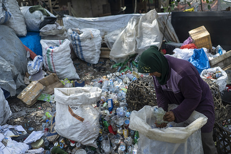 A scavenger collects used plastic bottles in sacks at a landfill in Lhokseumawe, Aceh province. The World Bank report shows that around 105 thousand metric tons of municipal waste are produced in Indonesia every day. This figure is expected to increase by 150 thousand tons by 2025. Poorly managed municipal waste will enter waterways and eventually become a problem for the Indonesian oceans. Analysis conducted by the World Bank in 2018 in 15 cities in central and western Indonesia shows that the composition of municipal waste varies, 44% organic waste, 21% diapers, and 16% plastic bags.