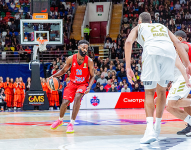 #26 Howard Sant-Roos of CSKA Moscow in action against Real Madrid during the 2019/2020 Turkish Airlines Euroleague Regular Season Round 19 game at Megasport Arena. (Final score: CSKA Moscow 60 - 55 Real Madrid)