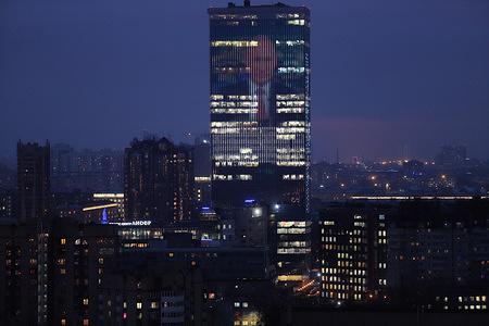 A giant Portrait of Vladimir Putin is seen on biggest media facade in Europe in Lider Tower.