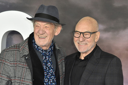 LONDON, UNITED KINGDOM - JANUARY 15 2020: Sir Ian McKellen and Sir Patrick Stewart attend the Amazon Original, 'Star Trek: Picard' UK TV Premiere at Odeon Luxe, Leicester Square.
