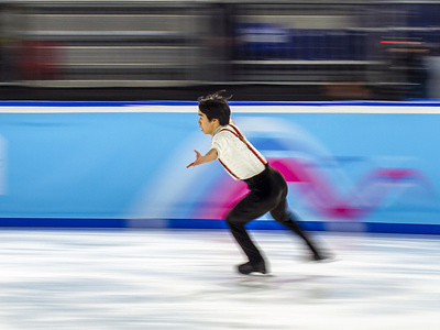 Yuma Kagiyama of Japan in action during the mixed NOC pair skating, during Day 6 of the Lausanne 2020 Winter Youth Olympic Games, at Lausanne Skating Arena.