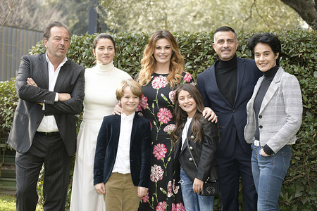ROME, ITALY - JANUARY 16, 2020: Vanessa Incontrada, Annalisa Insardà, Tancredi Testa, Crystal Deglaudi, Sebastiano Somma, Simone Montedoro and Elena Giovanardi during the fiction Rai Come una madre Photocall.