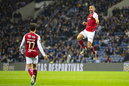 SC Braga's player Paulinho celebrates a goal during the match for the portuguese first league between FC Porto and SC Braga at Dragon Stadium in Porto.  (Final score; FC Porto 1:2 SC Bra)