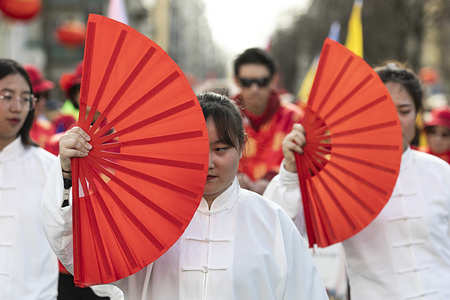 Participants wearing traditional Chinese costumes take part during the Chinese New Year Parade in Lisbon. Chinese communities around the world celebrate the Chinese New Year 2020, the year of the rat. In Chinese culture, rats were seen as a sign of wealth and surplus.