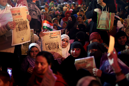 Demonstrators holding placards during the protest. Muslims and other groups have opposed the new citizenship law passed by the Indian parliament in a protest against Citizenship Amendment Act and NRC at Shaheen Bagh.