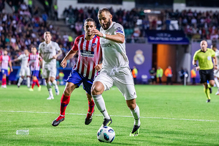 Karim Benzema of Real Madrid and Koke of Atletico Madrid seen in action during the UEFA Super Cup 2018 between Real Madrid and Atletico Madrid at a le coq arena in Tallinn. (Final score; Real Madrid 2:4 Atletico Madrid)