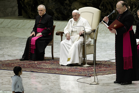 Pope Francis attends the weekly General Audience at the Paul VI Hall in Vatican City.