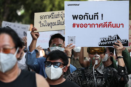 Protesters wear dust masks while holding placards during the rally. Environmental activists rally to demand rights to clean air, near the Thai Government House in Bangkok, Thailand, as the country struggles to contain worsening air pollution.