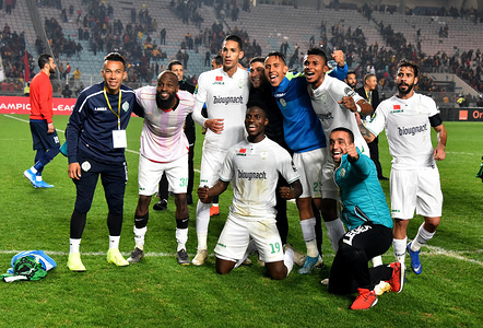 Raja club Athletic players Celebrate during the CAF Champions League 2019 - 20 football match between Esperance sportive Tunisia and Raja club athletic in Rades. (Final Score: Esperance sportive 2:2 Raja club athletic)