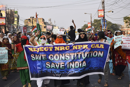 Protesters hold a banner during the demonstration. On the day of Republic Day, people protest against CAA (Citizenship amendment act) and NRC (national register of citizen) in Kolkata.