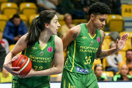 Jelena Brooks and Candice Dupree are seen in action during EuroLeague Women group B match between Asseco Arka Gdynia and Sopron Basket in Gdynia. (Final score: Arka Gdynia 67:77 Sopron Basket).