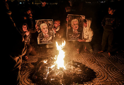 """Palestinian protesters burn tires during a demonstration against the peace plan proposal expected by US President Donald Trump in Gaza City. Donald Trump launched the """"Final Deal"""" for peace in the Middle East, saying his detailed 80-page plan would be """"a two-state solution"""""""