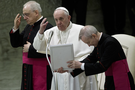 VATICAN CITY, VATICAN - JANUARY 29, 2020: Pope Francis prays during the weekly General Audience at the Paul VI Hall in Vatican City.
