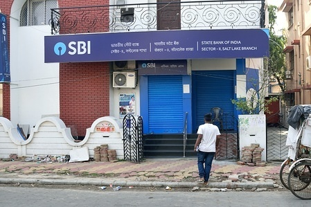State Bank of India branch closed during the strike. The united forum of bank unions called for a nationwide strike seeking early wage revision settlement and other demands.