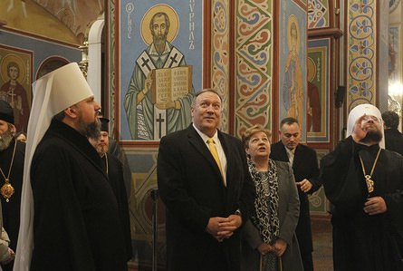 U.S. Secretary of State Mike Pompeo (C) and Head of the independent Ukrainian Orthodox Church Metropolitan Epifaniy (or Epiphanius) (L) visit the St. Michael's Golden-Domed Monastery in Kiev, Ukraine. US Secretary of State Mike Pompeo visits Ukraine for meeting with Ukrainian President Volodymyr Zelensky, Foreign Minister Vadym Prystaiko, and Defense Minister Andriy Zahorodnyuk to highlight U.S. support for Ukraine's sovereignty and territorial integrity. Mike Pompeo is on a foreign trip to eastern Europe and Central Asia from January 29 to February 4.
