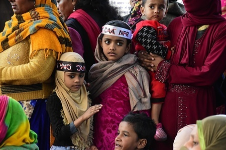 Kids with headbands during the protest. After more than 50 days of protest against India's new citizenship law, demonstrators blocked off Shaheen Bagh area close to the Jamia Millia Islamia University.