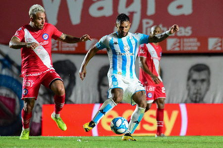 Diego Batallini in action during the Super Liga Argentina match between Argentinos Jrs and Racing Club at Diego Armando Maradona Stadium. (Final score: Argentinos Jrs 1-1 Racing Club)