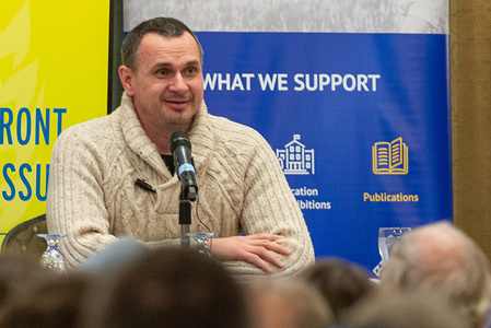 TORONTO, CANADA, FEBRUARY 2, 2020: Oleg Sentsov, Ukrainian filmmaker, writer and activist from Crimea speaks to the Ukrainian community about his arrestation in Crimea and his prison sentence by a Russian court who accuse him of plotting terrorism acts.