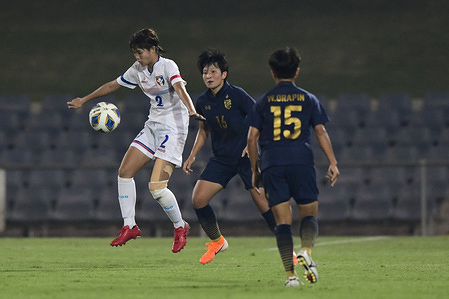 Chinese Taipei's Zhou Li-ping seen in action during the 2020 AFC Women's Olympic Qualifying Tournament match between Thailand and Chinese Taipei at Campbelltown Sports Stadium in Leumeah. (Final score; Thailand 0:1 Chinese Taipei)