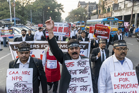 A Lawyer chants slogan during the protest. Kolkata high court lawyers participate in a protest rally against CAA (Citizenship Amendment Act) 2019, NRC (National Register Citizens) and NPR (National Popular Register).
