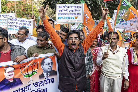 A BJP supporter chants slogan during the rally. BJP (Bharatiya Janata Party) supporters participate in a rally supporting the CAA (Citizenship amendment act) 2019 and NRC (National register citizens) in kolkata.