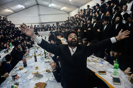 A Hasidic Jew dances during the celebration. The 206th feast of the yorca (death anniversary) of Dawid Biderman who was a rabbi, the first tzadik of the Hasidic dynasty Lelow, the most known tzadikim of that time in Poland and his thoughts are cited to this day.