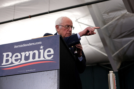 After a strong show in Iowa, Bernie Sanders campaigns in Milford.