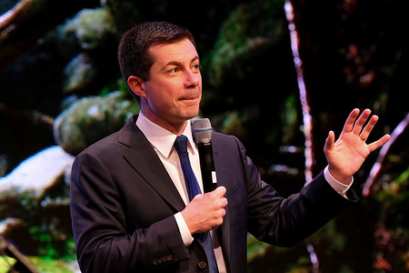 CONCORD, UNITED STATES, - FEBRUARY 5, 2020: Democratic presidential candidate Pete Buttigieg speaks at the New Hampshire Youth Climate and Clean Energy Town Hall in Concord.