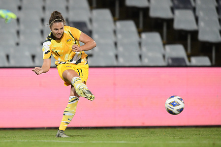 Jenna McCormick of Australia in action during the 2020 AFC Women's Olympic Qualifying Tournament match between Australia and Chinese Taipei at the Campbelltown Sports Stadium in Leumeah. Final score; Australia 7:0 Chinese Taipei.