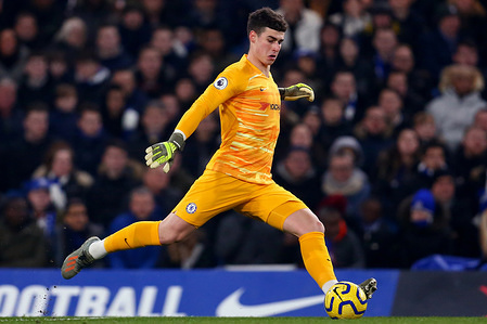 Kepa Arrizabalaga of Chelsea in action during the Premier League match between Chelsea and Arsenal at Stamford Bridge. Final Score; Chelsea 2:2 Arsenal.