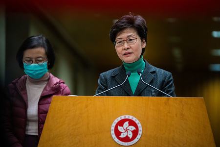 Carrie Lam, Hong Kong's chief executive speaks to the media during the press conference. The chief executive of Hong Kong announced that travelers traveling from mainland China in to Hong Kong will subject to a 14 days mandatory quarantine measure which the travelers will have to stay at home or hotel to be quarantined in order lower the risk of the Coronavirus being spread across the border from mainland China.